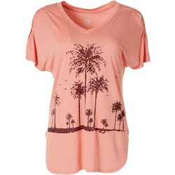 Brisas Womens Palm Tree Graphic Top