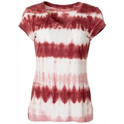 Brisas Womens Tie Dye Print Short Sleeve V-Neck Top
