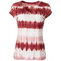 Brisas Womens Tie Dye Print Short Sleeve V-Neck Top