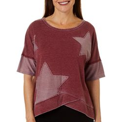 Brisas Womens Mineral Wash Star Embellished Short Sleeve Top