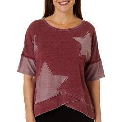 Womens Mineral Wash Star Embellished Short Sleeve Top