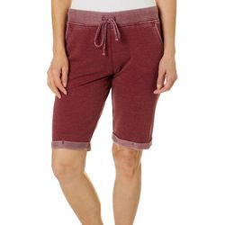 Brisas Womens Mineral Wash Cuffed Bermuda Shorts
