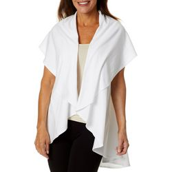 Brisas Womens Solid Short Sleeve Flyaway Cardigan