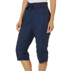 Brisas Womens Solid Ruched Side Pants