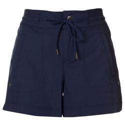 Brisas Womens Solid Athletic Drawstring Woven Shorts