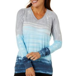 Brisas Womens Tie Dye V-Neck Long Sleeve Top