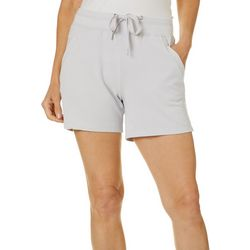 Brisas Womens Solid French Terry Pull On Shorts