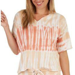 Fuda Womens Tie Dye Short Sleeve Top