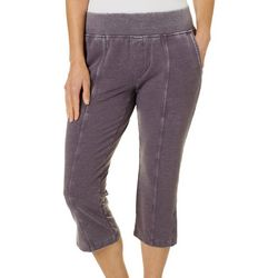 Womens Solid Mineral Wash Knit Pull On Capris
