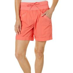 Brisas Womens Solid Woven Ribbed Waist Shorts