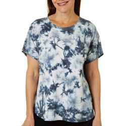 Brisas Womens Tie Dye Crew Neck Cap Sleeve Top