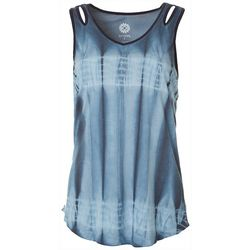 Brisas Womens Tie Dye Keyhole Detail Sleeveless Top