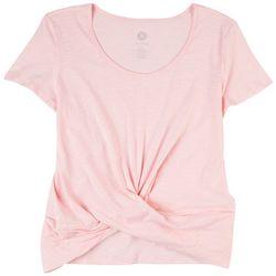 Brisas Womens Scoop Twist Short Sleeve Top