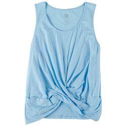 Brisas Womens Blue Bell Scoop Twist Sleeveless Top
