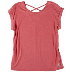 Brisas Womens Slate Rose Short Sleeve Top