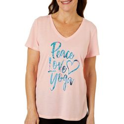 Brisas Womens Peace Love Yoga V-Neck T-Shirt