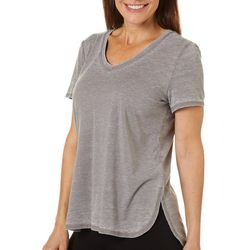 Brisas Womens Heathered Solid V-Neck T-Shirt