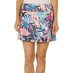 Womens Ruched Detail Sketched Floral Skort
