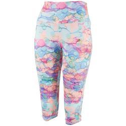 Womens Watercolor Dots Printed Capri Leggings