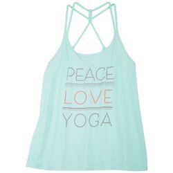 Brisas Womens Peace Love Yoga Scoop Neck Sleeveless