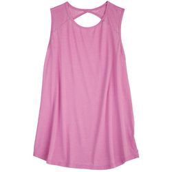 Brisas Womens Solid Back Cut Out Tank Top
