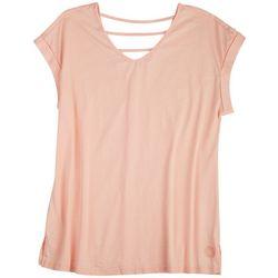 Brisas Womens V-neck Cap Short Sleeve Top
