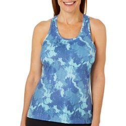 Brisas Womens Textured Camo Print Sleeveless Top