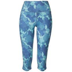Brisas Womens Textured Camo Capri Leggings