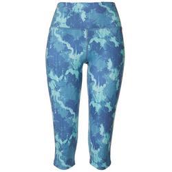 Womens Textured Camo Capri Leggings
