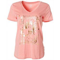 Brisas Womens Foil Celestial Relax V-Neck T-Shirt