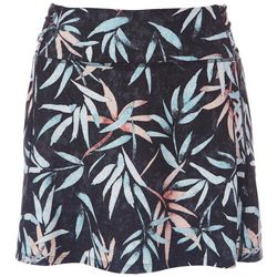 Brisas Womens Ruched Bamboo Leaves Skort