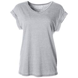 Womens Solid V-Neck Rolled Short Sleeve Top
