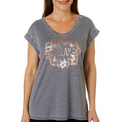 Brisas Womens Relax Mandala Screen Print Round Neck Top
