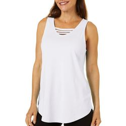 Brisas Womens Solid Lattice Neckline Sleeveless Top
