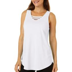 Womens Solid Lattice Neckline Sleeveless Top