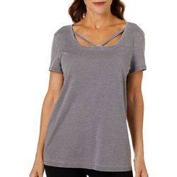 Brisas Womens Mineral Wash Strappy Neck Top