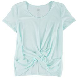 Brisas Womens Solid Front Tie Knot Short Sleeve Top