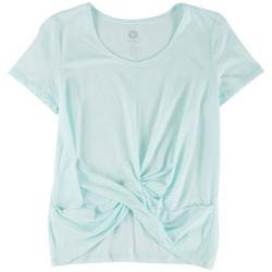 Womens Solid Front Tie Knot Short Sleeve Top