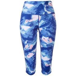 Womens Wavy Tie-Dye Capri Leggings