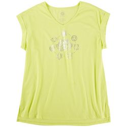 Brisas Womens V-Neck Active Rolled Cuff Short Sleeve