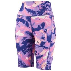 Brisas Womens Marbled Biker Shorts