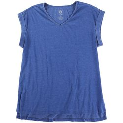 Brisas Womens Solid Color Cuffed Short Sleeve T-Shirt