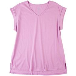 Womens Solid Color Cuffed Short Sleeve T-Shirt