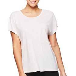 Gaiam Womens Corinne Solid Lattice Back Short Sleeve Top