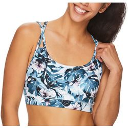 Womens Floral Print Shine Sports Bra
