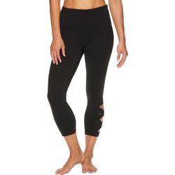 Womens Hi-Rise Criss Cross Yoga Capri Leggings