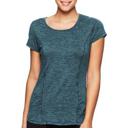 Gaiam Womens Solid Rouched Detail Short Sleeve Tee