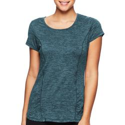 Womens Solid Rouched Detail Short Sleeve Tee