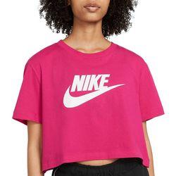Nike Womens Logo Crew Neck Cropped T-Shirt