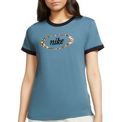 Nike Women's Floral Logo Ringer Short Sleeve Top